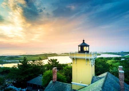wildwood: Sunset in Wildwood, New Jersey and a lighthouse aerial view