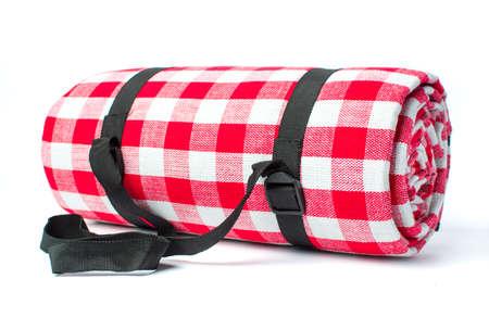 Plaid picnic blanket isolated on white background