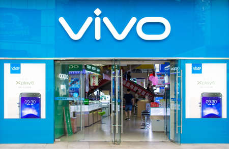 NANNING, CHINA - JUNE 9, 2017: Vivo mobile phone and accessories shop, open for buyers. Vivo is a Chinese technology company that designs, develops, and manufactures smartphones, smartphone accessories, software, and online services. It was founded in 200 Stock fotó - 85228703