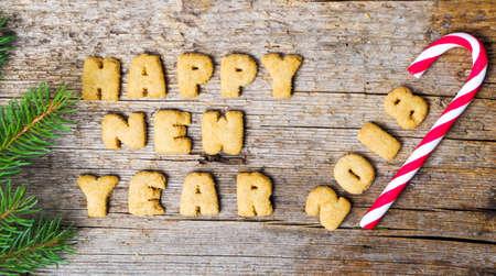 新年あけましておめでとうございます注クッキー文字で書かれました。