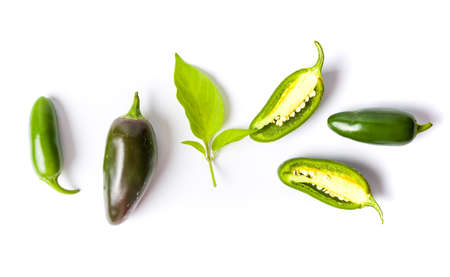 Green jalapenos peppers on white background isolated