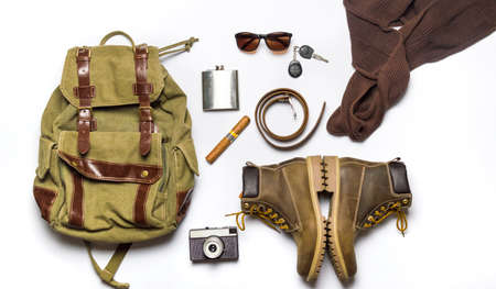 combination: male fashion accessories flat lay isolated on white