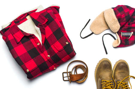 combination: Winter male fashion accessories flat lay isolated on white