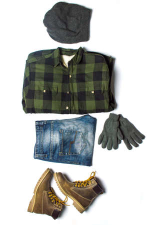 combination: Winter male fashion accessories from top to bottom flat lay Stock Photo