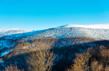 serbia: Winter landscape with snow covered mountain and clear sky Stock Photo