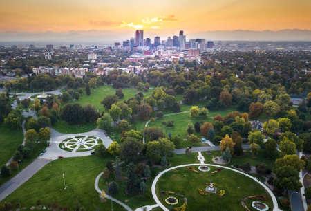 덴버 도시 풍경, 도시 공원에서 공중보기를 통해 일몰