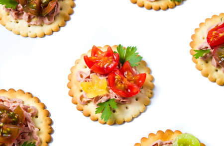 Biscuits with vegetables and ham. Light snack Stok Fotoğraf - 88127864
