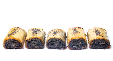 Baklava dessert with poppy seeds on white isolated Stock Photo