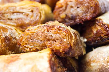 baklava: Baklava dessert slices on a pile close up