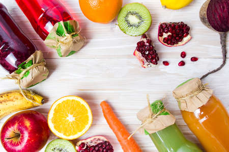 Various smoothies with ingredients on a table top view Stock Photo