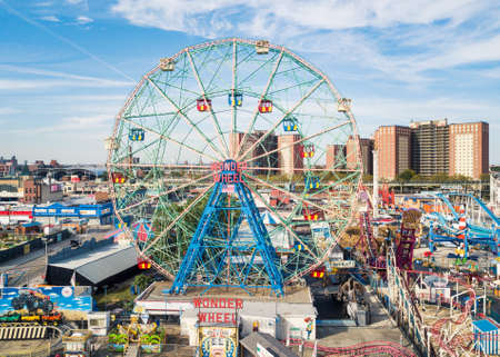 NEW YORK, USA - SEPTEMBER 26, 2017: Wonder wheel at Coney island amusement park aerial view. Located In southern Brooklyn along the waterfront it is a entertainment hot spot of NYC Editorial