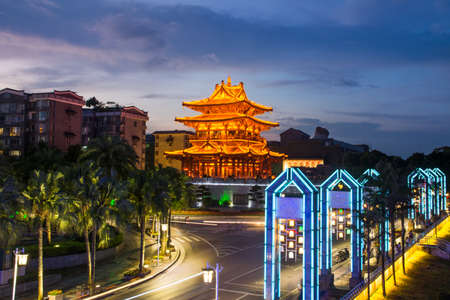 Guilin, famous travel city in China, Xiaoyao Tower view at blue hour