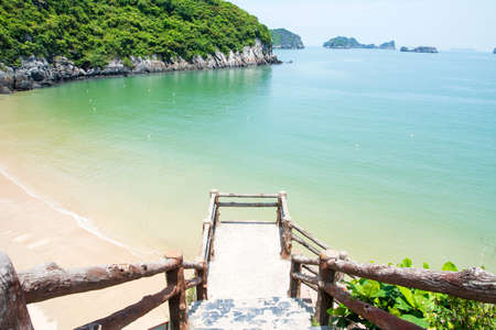 Cat Ba Island City Beach In Vietnam View From The Stairs Stock Photo    90921242