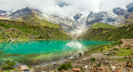 Humantay lake in Peru on Salcantay mountain in the Andes at 5473m altitude Stockfoto