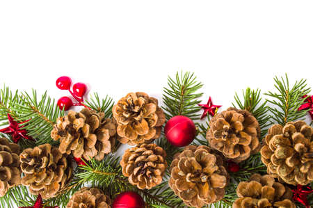 Pine cones festive background with fir branch flat lay