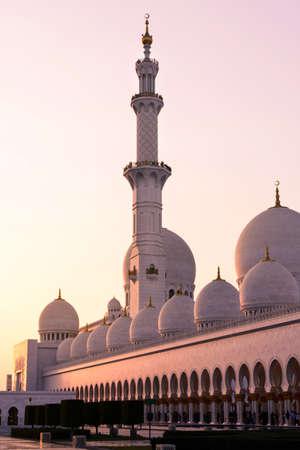 Sheikh Zayed Grand Mosque at sunset in  Abu Dhabi - UAE