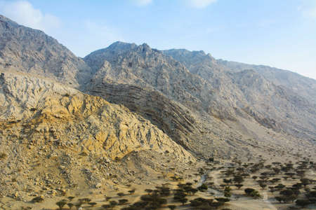 Jabal Jais mountain and desert landscape near Ras al Khaimah, UAE