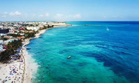 Aerial view of famous Playa del Carmen public beach in Quintana roo, Mexico 스톡 콘텐츠