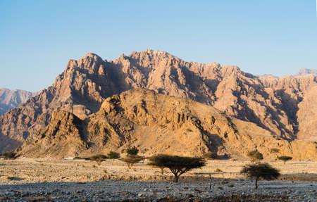 Stunning desert mountain scenery of Jabal Jais in the United Arab Emirates