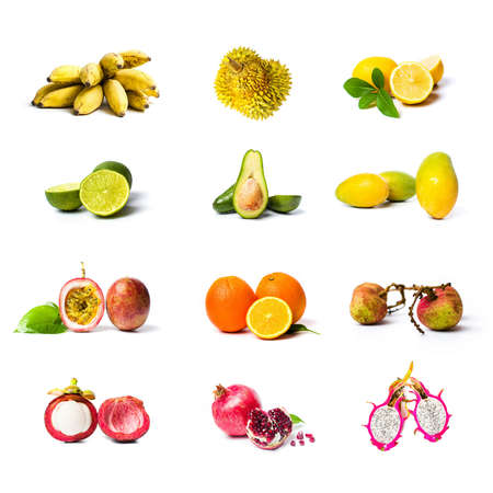 Large tropical fruit collage isolated on white background