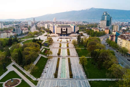 National palace of culture and the surrounding park and buildings in Sofia Bulgaria Stock Photo
