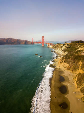 Aerial view of Golden Gate bridge from Marshalls beach in San Francisco