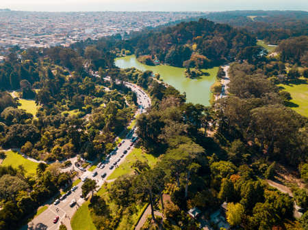 Aerial view over Golden Gate park in San Francisco with a view of a green lake
