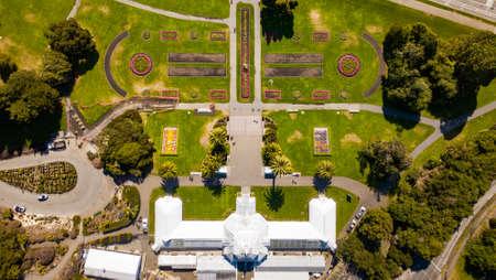 San Francisco botanical garden on a sunny day top view