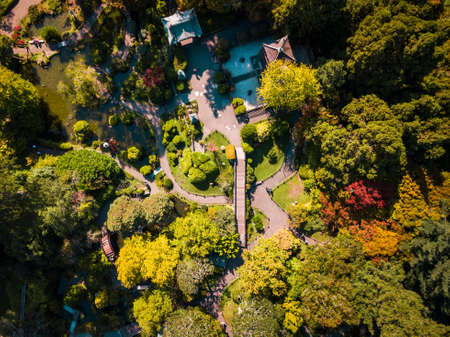 Japanese botanical garden in San Francisco Golden Gate Park aerial
