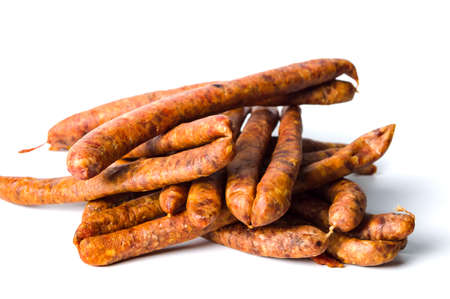 Homemade sausages isolated on a white background