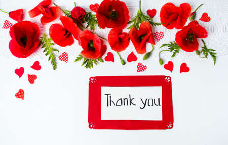 Thank you card with poppy flowers on white background