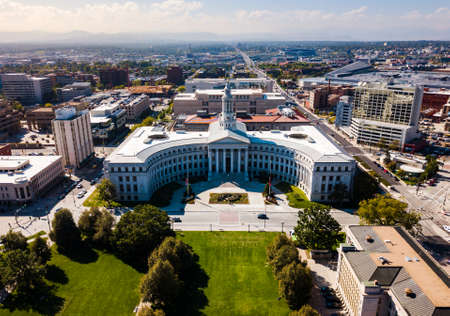 Colorado State Capitol building and Denver cityscape aerial view