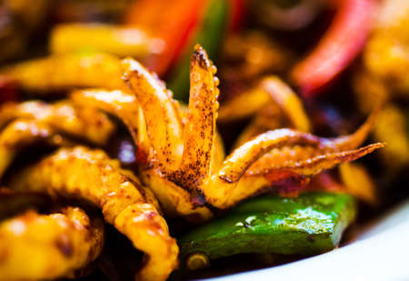 Fried squid with vegetables on a plate close up Stock Photo