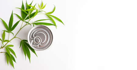 Marijuana leaf and a metal can on white top view