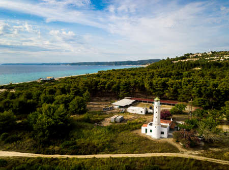 Posidi lighthouse in Kassandra peninsula at Chalkidiki Greece aerial view