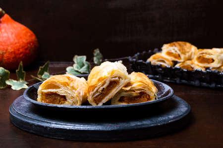 Homemade Pumpkin pie with sugar on a plate Reklamní fotografie