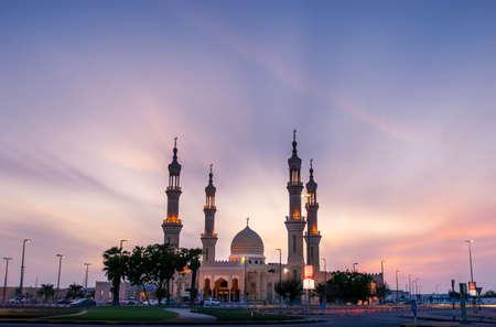 Ras Al Khaimah, United Arab Emirates - October 30, 2018: Shaikh Zayed Mosque in Ras Al Khaimah at sunset, the heart of northern emirate of the UAE