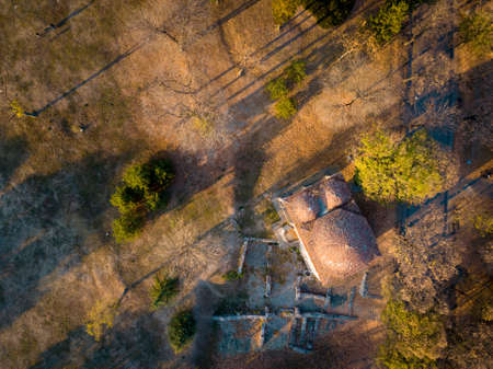 Aerial photo of Bali Beg Mosque during autumn in Nis, Serbia
