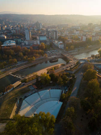 Aerial photo of the summer stage and the city of Nis, Serbia
