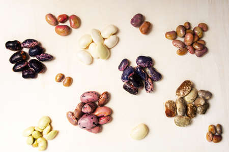 Mixed bean on white background top view