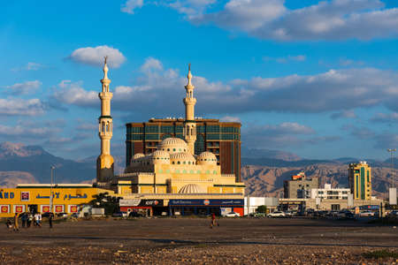 Ras Al Khaimah, United Arab Emirates - November 27, 2018: Sultan bin Saqr Al Qasimi new Mosque in Ras Al Khaimah downtown Editorial