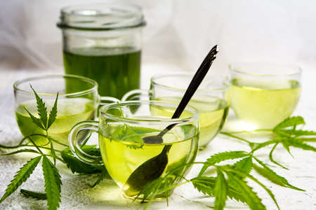 Cannabis herbal tea served in glass teacups with marijuana leaves Stockfoto