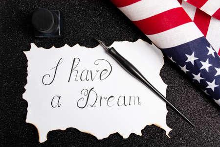 Tengo una nota de caligrafía de sueño Resumen del discurso de Martin Luther King Foto de archivo