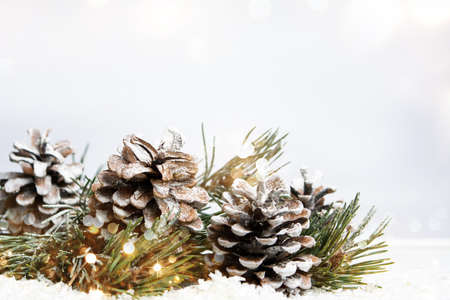 Christmas abstract background with pinecones and fir tree
