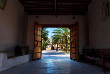 Ajman, United Arab Emirates - December 6, 2018: Ajman Museum entrance showing the history and tradition of United Arab Emirates Editorial