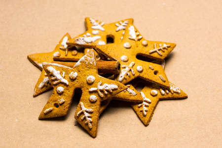 Christmas cookies in shapes of festive symbols Imagens