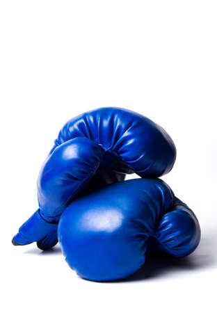 Two blue boxing gloves isolated on white background