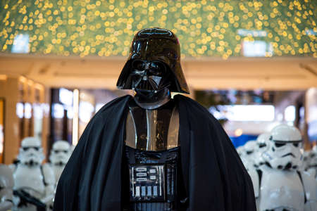 Dubai, United Arab Emirates - December 11, 2018: Star wars character Darth Vader displayed in Dubai mall lobby Editorial