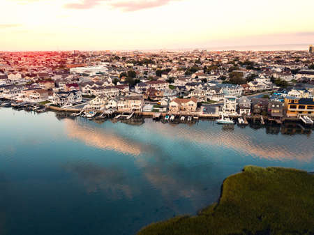 Aerial photo of sunset over the bay in WIldwood New Jersey
