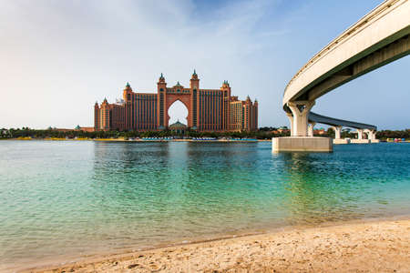 Dubai, United Arab Emirates - January 25, 2019: Atlantis the Palm hotel from The Pointe waterfront dining and entertainment destination at the Palm Jumeirah